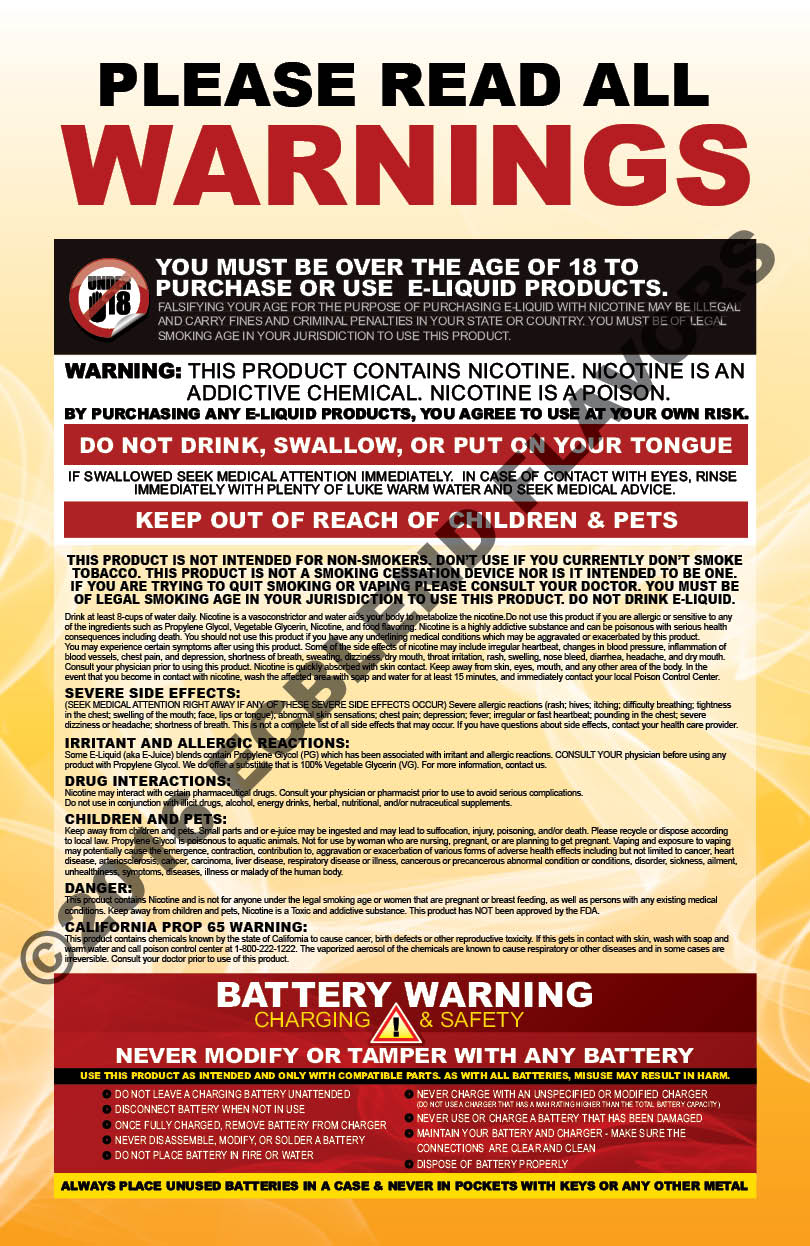 Nicotine and Battery Warnings Posters